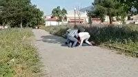 Genç kadının cebindeki telefonu çalan hırsızların yakalanma anları kamerada
