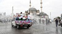 Bugün ibadete açılacak Taksim Camii'nin çevresi gül suyu ile yıkandı