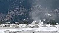 Antalya'da seraların naylonlarını uçuran hortum anı