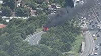 15 Temmuz Şehitler Köprüsü bağlantı yolunda otomobil yangını