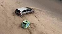 Ankara'da araçlar sel sularında böyle sürüklendi