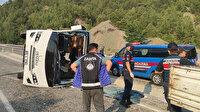 Denizli'de midibüs devrildi: 19'u çocuk 22 kişi yaralandı