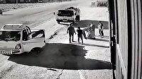 Kazadan kıl payı kurtulan sürücü şükür secdesine giderken hatalı sürücü de yanına gelip başından öptü