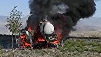 Tekeri kilitlenen tanker alev topuna döndü: Sürücü canını son anda kurtardı