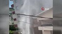 İSKİ ekiplerinin çalışması esnasında patlayan su borusu apartman yüksekliğine ulaştı