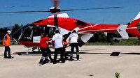 Samsun'da fenalaşan yaşlı kadının yardımına ambulans helikopter yetişti