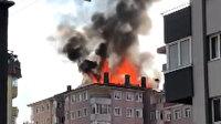 Ümraniye'de yangın paniği: Binanın çatısını alevler sardı