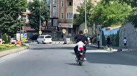 Arnavutköy'de trafikte baba ve kızın tehlikeli yolcuğu kamerada