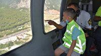 8 yaşındaki Ali'nin helikopterle uçma hayali gerçek oldu