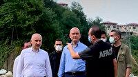 Bakan Soylu ve Bakan Karaismailoğlu Rize'de afet bölgesinde incelemelerde bulundu