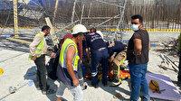 Arnavutköy'de İSKİ'ye ait şantiye alanında iskele devrildi: 3 işçi ağır yaralandı