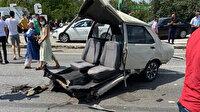 Zincirleme kazada otomobil ikiye bölündü