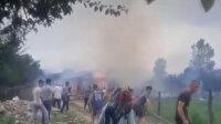Düzce'de hayvan besi çiftliğinde kurban kesimi yapıldığı esnada yangın çıktı