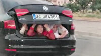 Çocukların otomobil bagajında tehlikeli yolculuğu