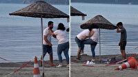 Plajda tartıştığı kişiyi tekme tokat döven kadın kamerada
