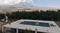 Süper baba: Çocukları için Ağrı Dağı manzaralı havuz inşa etti