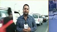 Mısır'da canlı yayında muhabire motosiklet çarptı