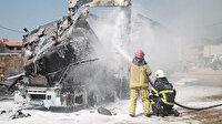 Kaza yapan boya ve tiner yüklü TIR çekildiği otoparkta patladı