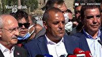 Sel afetinin yaşandığı Esenyamaç'ın muhtarı Kılıçdaroğlu'nun yanında devleti işaret ederek 'Bir saat olsun sahipsiz kalmadık' deyince CHP'liler müdahale etti: CHP sayesinde