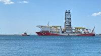 'Yavuz' sondaj gemisi Karadeniz'e açılmak üzere İstanbul Boğazı'na giriş yaptı