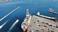 Yavuz Sondaj Gemisi Haydarpaşa'ya demirledi, hazırlıklar havadan görüntülendi