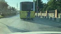 Sancaktepe'de patenle dans eden gencin tehlikeli yolculuğu kamerada
