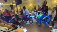 Hatay'da düğünde ilginç görüntüler: Salona motosikletle girdiler