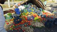 Meyve sebze yüklü kamyonet devrildi: Karayolu manav tezgahına döndü
