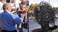 CHP'nin Sanayi Ağacı Heykeli ikinci denemede güçlükle açıldı