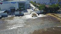 Sultanbeyli'de boru patladı: Cadde ve fabrika bahçesi göle döndü