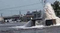 Sultanbeyli'de İSKİ'nin ait su borusu patladı: Metrelerce havaya fışkıran su yolu göle çevirdi