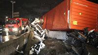 Kocaeli'nde korkunç kaza: Tır parçalara ayrıldı yaralı sürücü bir saatte kurtarıldı