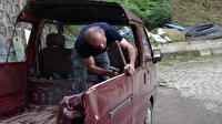 Karadeniz usulü çözüm: Aracının tavanına kafasını vurunca sinirlendi panelvanı kamyonete dönüştürdü