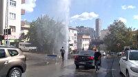 Ataşehir'de İSKİ çalışması sırasında boru patladı: Su metrelerce yükseğe fışkırdı