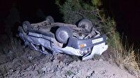 Otomobil 80 metreden düştü: Emniyet kemeri takılı sürücü yaralı kurtuldu