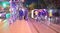 Güngören'de servis minibüsü tramvay yoluna devrildi