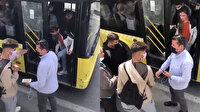 Otobüs kapısına çantası sıkışan genç sinirlenip camı kırdı