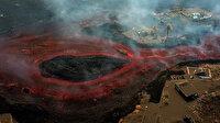 La Palma'daki yanardağdan akan lavlar havadan görüntülendi