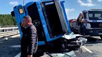İSKİ'nin beton blok taşıyan kamyonu otomobilin üzerine devrildi: 1ölü