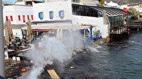 Bodrum'da fırtına: Hızı 70 70 kilometreye ulaştı denizin rengi değişti