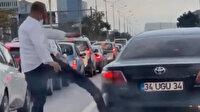 D-100 Karayolu'nda şerit kavgası: İETT şoförü otomobili tekmeledi