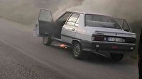 Kırıkkale'de benzin hortumu delinen otomobil alev aldı