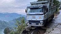 Rize'deki heyelanda yol çöktü: Kamyonet son anda yuvarlanmaktan kurtuldu
