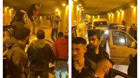 Magandalar tünel kapatıp asker eğlencesi yaptı: Sürücüler isyan etti