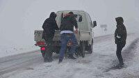 Kar ve tipi bir anda bastırdı sürücüler zor anlar yaşadı