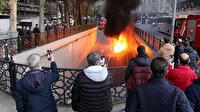 İstanbul Şişli'de korku dolu anlar: Öğrencileri taşıyan servis minibüsü alev alev yandı