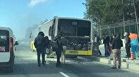İETT otobüsü alev alev: Yoldan geçen vatandaşlar yangın tüpleri ile söndürdü