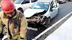Avcılar'da trafikten kaçan iki otomobil kafa kafaya çarpıştı