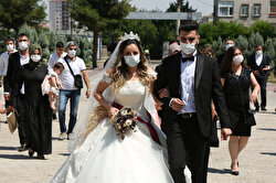 Bride Pelsin Akkoyun and groom Nizamettin Bingol, wearing protective face masks, walk following their civil wedding ceremony, amid the spread of the coronavirus disease (COVID-19), in Diyarbakir, Turkey, July 2, 2020. Turkey reopened its wedding halls in one of the final steps of reopening from the shutdown due to the coronavirus disease (COVID-19). REUTERSSertac Kayar
