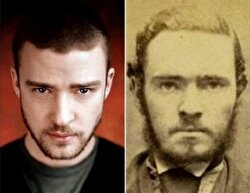 Justin Timberlake and an unknown person from history.